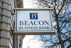 Beacon Business Bank sign on the building at 1440 Webster Street in Alameda, CA