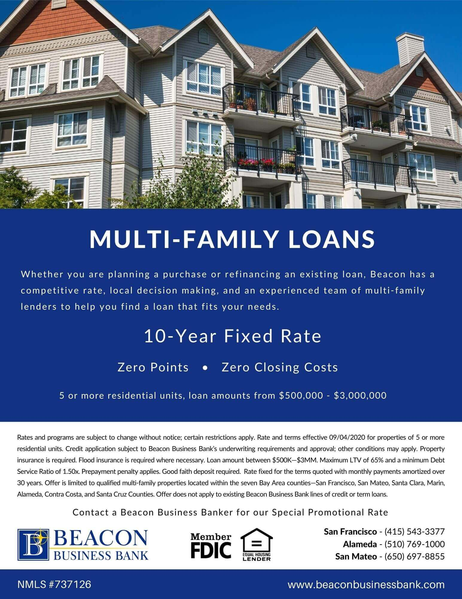 image of a multi-family loan promotion  with a photo of an apartment building.